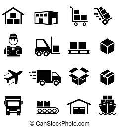 logisty, ładunek, dystrybucja, okrętowy, ikony