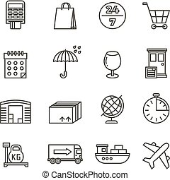 logisty, ładunek, ikony, okrętowy, doręczenie, wektor, kreska, przewóz