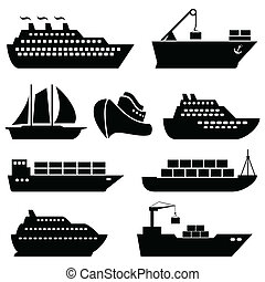 logisty, ładunek, ikony, okrętowy, statki, łódki