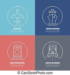 logisty, ładunek, okrętowy, doręczenie, icons., kreska, przewóz, poczta lotnicza
