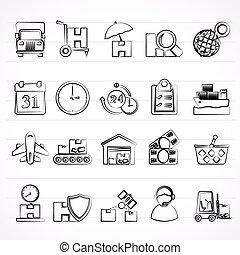 logisty, ładunek, okrętowy, ikony