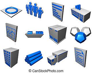logisty, błękitny, łańcuch, ikony, proces, dostarczać,...