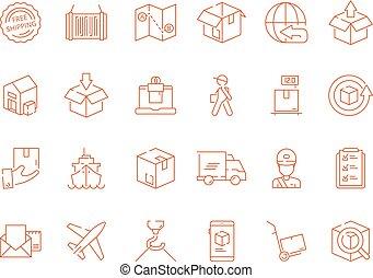 logisty, doręczenie, odpłacił, kurier, globalny, okrętowy, symbolika, wektor, ruchomy, fracht, poczta, icon., morze, szkic