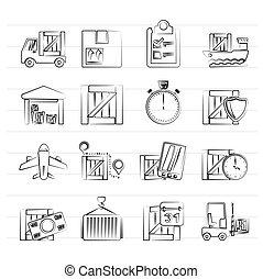 logisty, doręczenie, okrętowy, ładunek, ikony