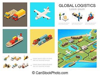 logisty, globalny, isometric, pojęcie, infographic