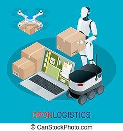 logisty, isometric, towary, city., concept., innowacja, mocna dostawa, truteń, wysyłka, techniczny, autonomiczny