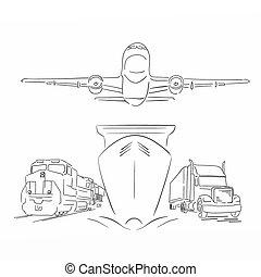 logisty, kontener, samolot, pociąg, ilustracja, znak, wektor, wózek, statek