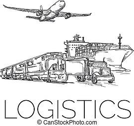 logisty, kontener, samolot, znak, pociąg, wózek, statek