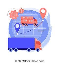 logisty, pojęcie, abstrakcyjny, wektor, illustration., collaborative