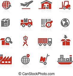 logisty, przemysł, ikony