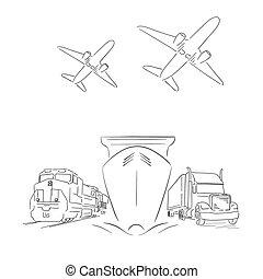 logisty, wektor, kontener, ilustracja, znak, pociąg, samoloty, wózek, statek