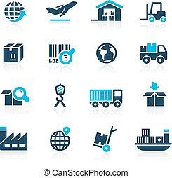 logisztika, égszínkék, iparág, --