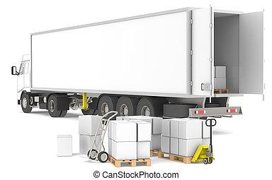 logisztika, distribution., series., trucks., kék, sárga, dobozok, rész, paletták, raktárépület, nyílik, kúszónövény