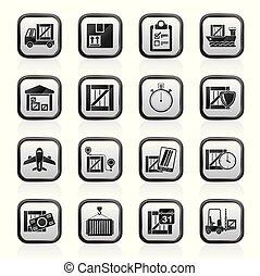logisztika, felszabadítás, hajózás, rakomány, ikonok