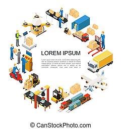 logisztika, globális, isometric, fogalom, kerek