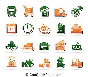 logisztika, rakomány, hajózás, ikonok