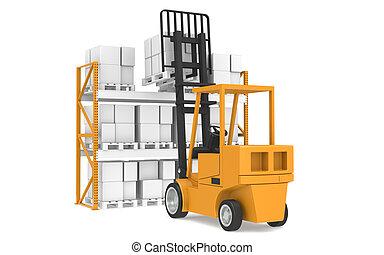 logisztika, series., pallet., rész, raktárépület, eltart