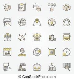 logisztika, szállítás, színes, ikonok