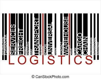 logisztika, szöveg, barcode, színes, vektor