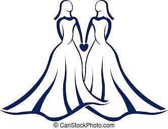 logo, ægteskab, samme, køn