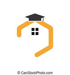 logo, école, maison