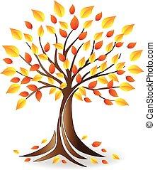 logo, écologie, arbre, famille, automne