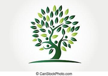 logo, écologie, arbre, figures, gens