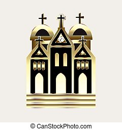 logo, église, or, icône