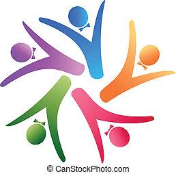 logo, équipe, business, social