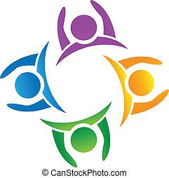 logo, équipe, tenant mains