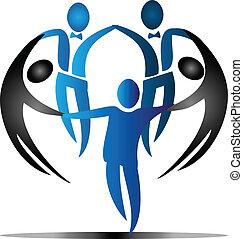 logo, équipe, vecteur, business, social