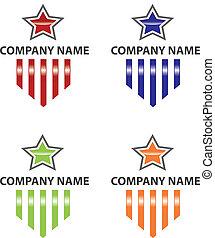 logo, étoile, raies