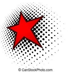 logo, étoile, rouges, 3d
