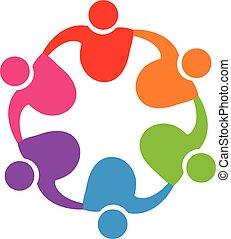 logo, étreinte, collaboration, gens