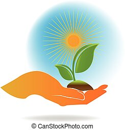 logo, ökologie, hand