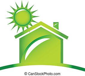 logo, ökologisch, ikone, daheim