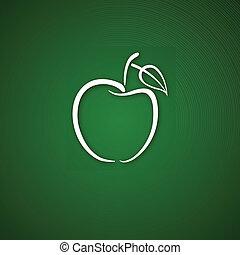 logo, över, grönt äpple