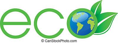 logo, økologi, grønne