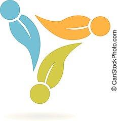 logo, økologi, teamwork, det leafs, folk