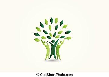 logo, økologi, træ, folk