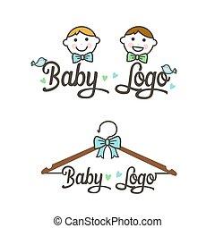 logo., イラスト, ベクトル, 子供