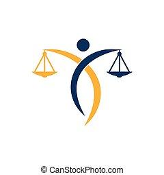 logo., スケール, 正義, 人, ロゴ, 保有物, 弁護士, 法律, design.