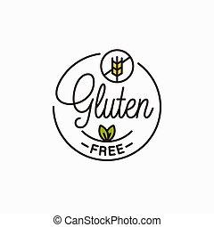 logo., ラウンド, 小麦, 線である, 無料で, gluten