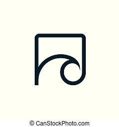 logo., 波, ベクトル, 屋外で, 紋章, illustration., icon.