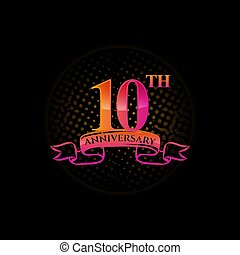 Celebrating the 10th anniversary logo, with gold rings and gradation ribbons isolated on a black background.