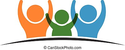logo, 3, groupe, famille, gens
