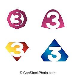 logo, 3, vecteur, nombre, design.