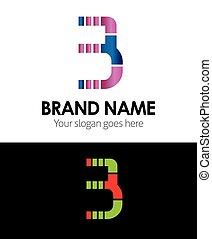 logo, 3, zahl, ikone