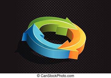 Logo 3D arrows in a circle