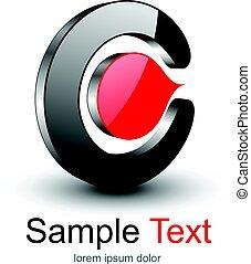 Logo 3D black and red shape, vector design.